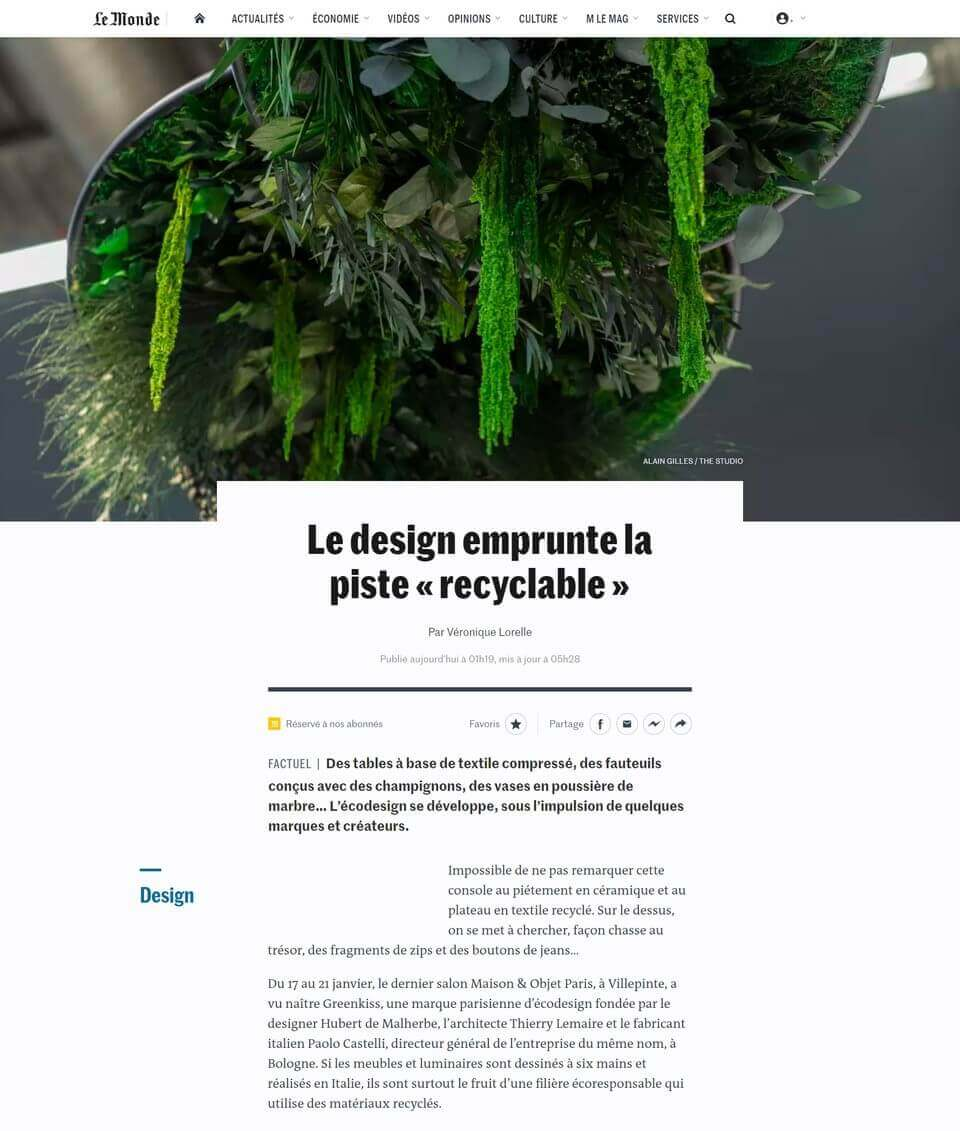 Greenmood in Le Monde's newspaper